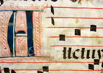 Detalle de letra inicial en caracteres góticos